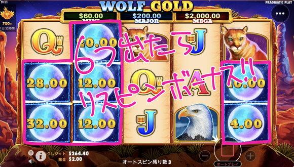 Wolf Goldのマネーリスピンボーナス