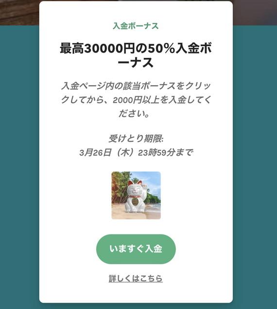 最高30000円の50%入金ボーナス