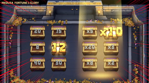 MEDUSA FORTUNE&GLORY fs12回のマルチプライヤー10倍