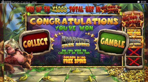 KING CONG CASH ギャンブルとコレクト選択
