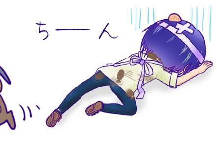 倒れるしんちゃん