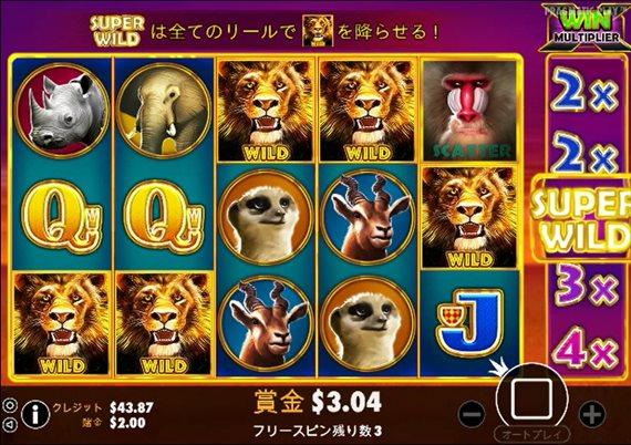 ワイルド図柄のライオンが5つ