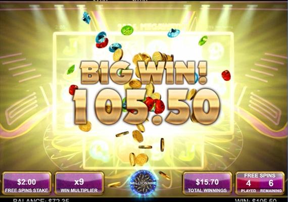 BTGのMillionaire slotのフリースピン$121獲得