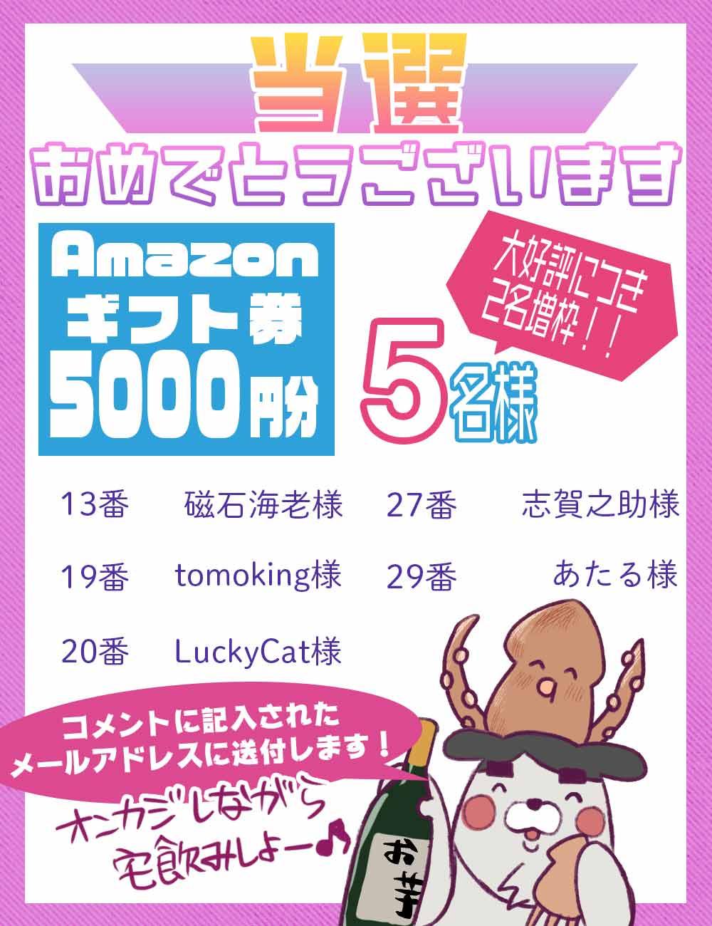 アマゾンギフト券5000円の当選者5名